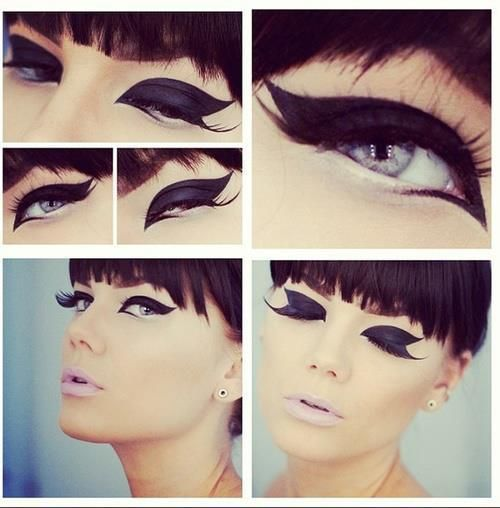 Awesome dramatic liner with pale lips.