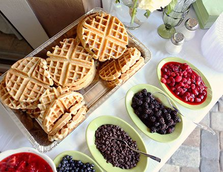 Waffle Bar: Guests can add toppings like ice cream, whipped cream, fruit, syrups (try lingonberry for a Nordic twist), toasted nuts, or Nutella (thin it out with milk so it's easier to pour