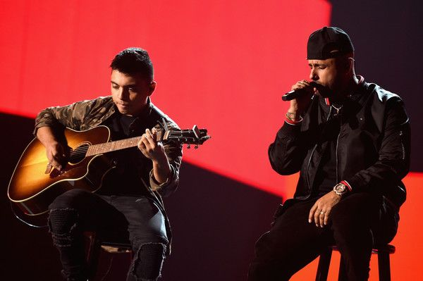 Nicky Jam Photos - Nicky Jam (R) performs onstage during rehearsals for the 18th annual Latin Grammy Awards at MGM Grand Garden Arena on November 15, 2017 in Las Vegas, Nevada. - The 18th Annual Latin Grammy Awards - Rehearsals - Day 3