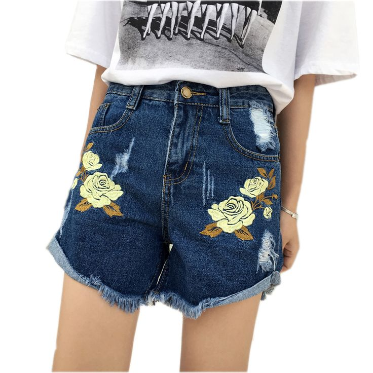 2017 Summer Women Ripped Denim Shorts Student Vintage Floral Embroidery  Holes Jeans Short Femme Casual Hot