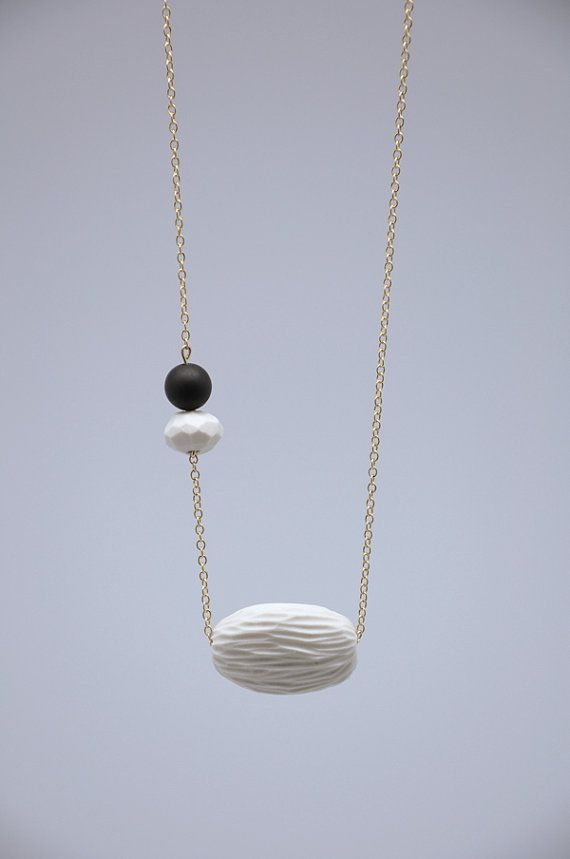 WHITE PORCELAIN necklace // porcelain jewelry by TheHeiressAtelier, €40.00