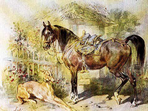 Juliusz Kossak - Rest - horse and greyhound