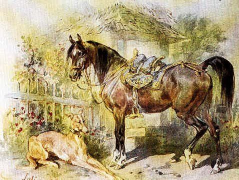 Juliusz Kossak - Rest - horse and greyhound