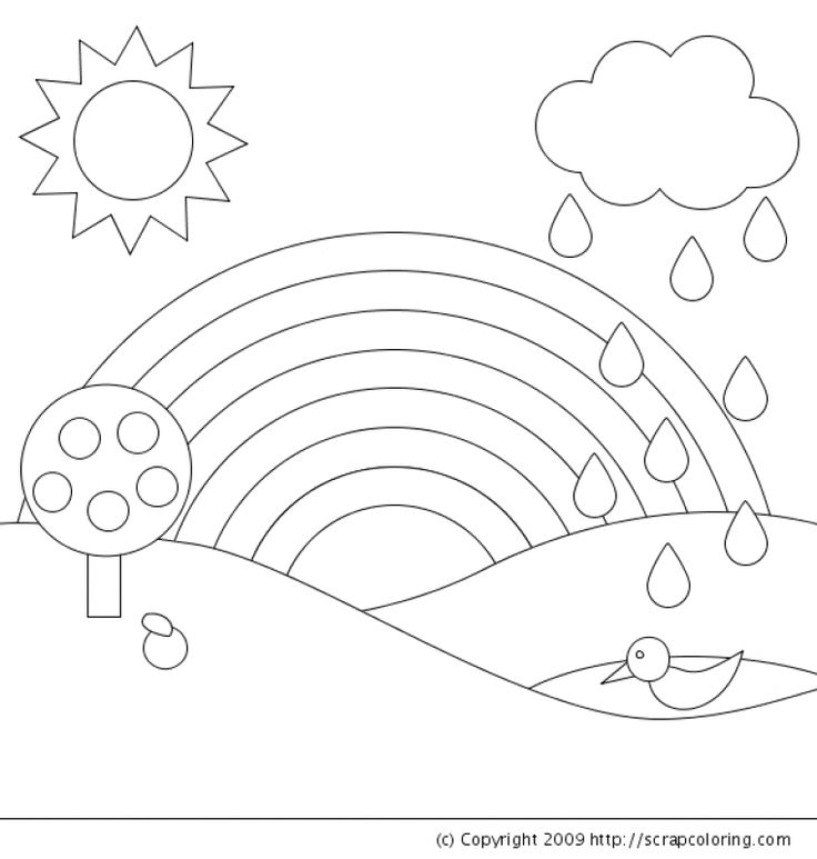 623 best images about fun coloring pages on pinterest for Rainbow coloring page for preschool