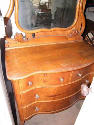 Antique 1920 S 30 S Birdseye Maple Mirrored Dresser Vanity