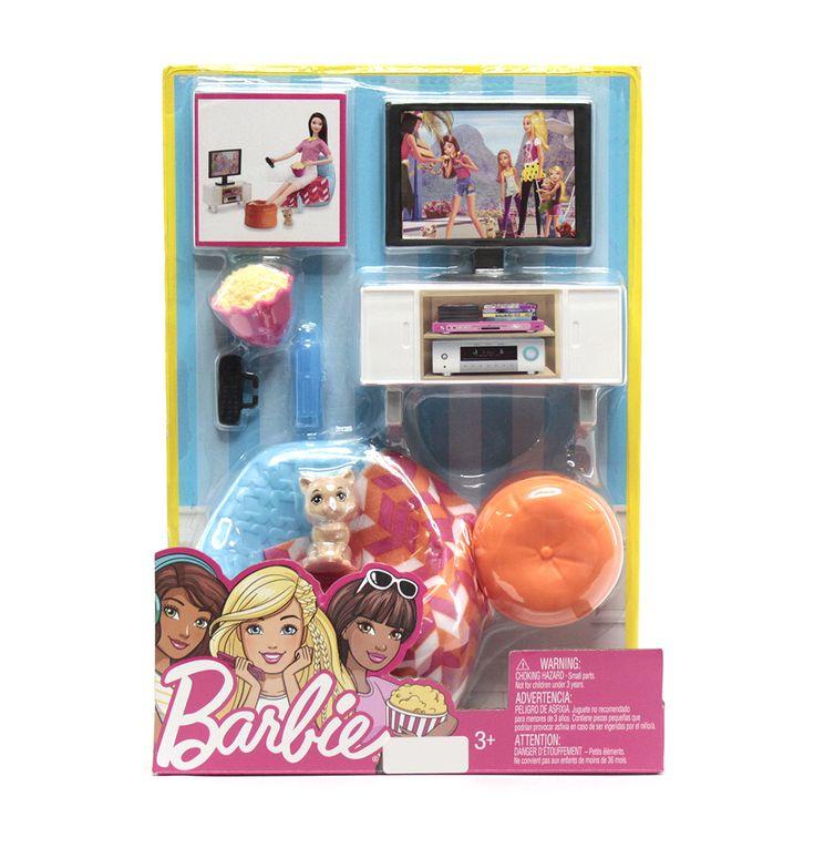 Diviértete con los nuevos escenarios que Barbie trae para ti. Incluyen lindos accesorios con los que podrás compartir junto a tus amigas y toda la línea coleccionable de Barbie. ¡Anímate y lleva está lindo set para ver peliculas, a tu pequeña le encantara!