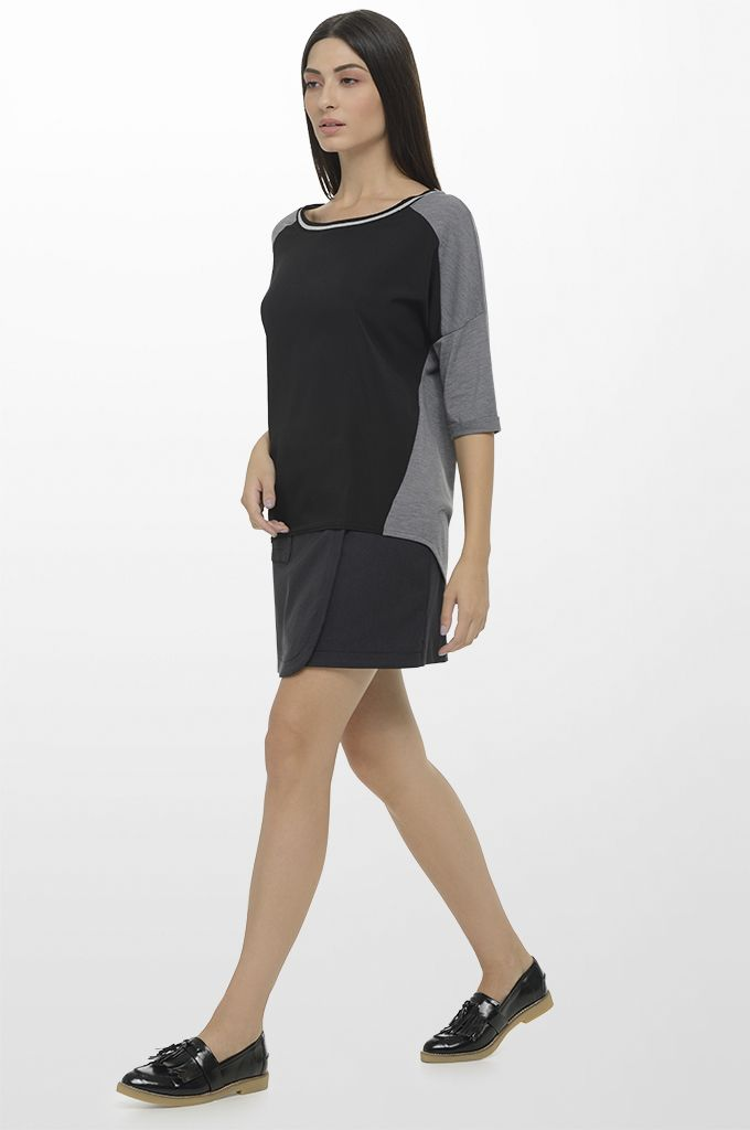 Sarah Lawrence - asymmetrical 3/4 sleeve blouse with combination of two fabrics & lurex details, wrapped skirt with polka dots.