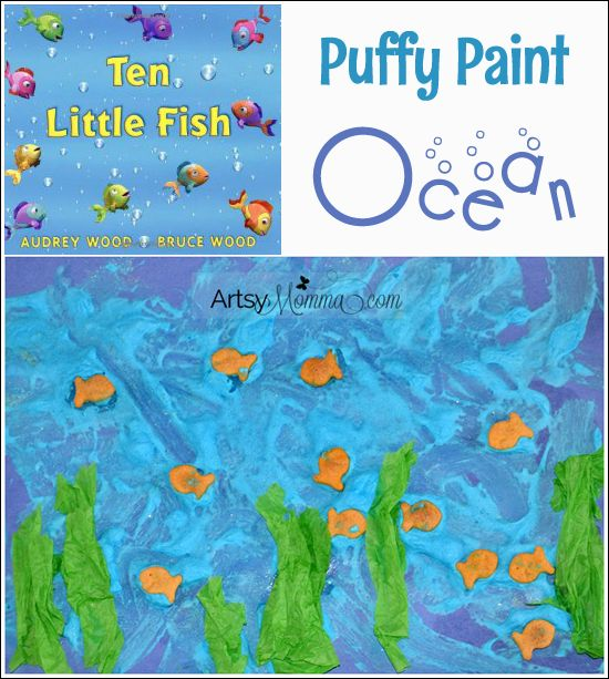 Kids Collage Art: Puffy Paint Ocean with Ten Little Fish