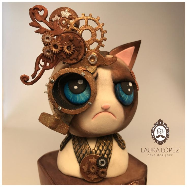 Grumpy cat by Steam Cakes - Steampunk Collaboration - Cake by Laura López by Sr. Pastel