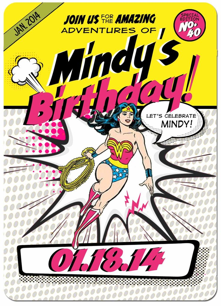 Do I have the best bday invite ever?  #wonderwoman. #40thbday