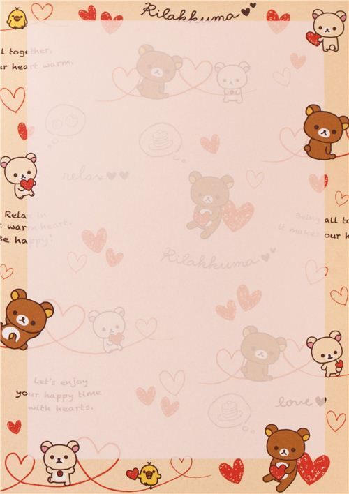 white Rilakkuma bear with red hearts Note Pad con pegatinas 3