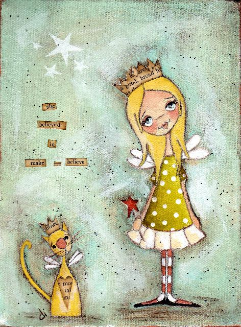 love that kitty..  <3Cat, Polka Dots, Little Girls Room, Diane Duda, Art Prints, Mixed Media, Whimsical Art, Folk Art Paintings, Young Girls
