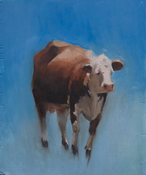 Caitlin Hurd: Study of a Cow Flying, 2008, oil on board, 8.5 x 7 in.  I adore this flying creature!