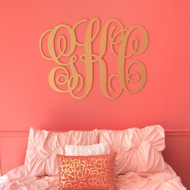 "A large monogram sign is a beautiful home decoration or wedding decoration! This script monogram is precision cut at 1/4"" thick which makes it lightweight and perfect for hanging on the wall. Choose y"