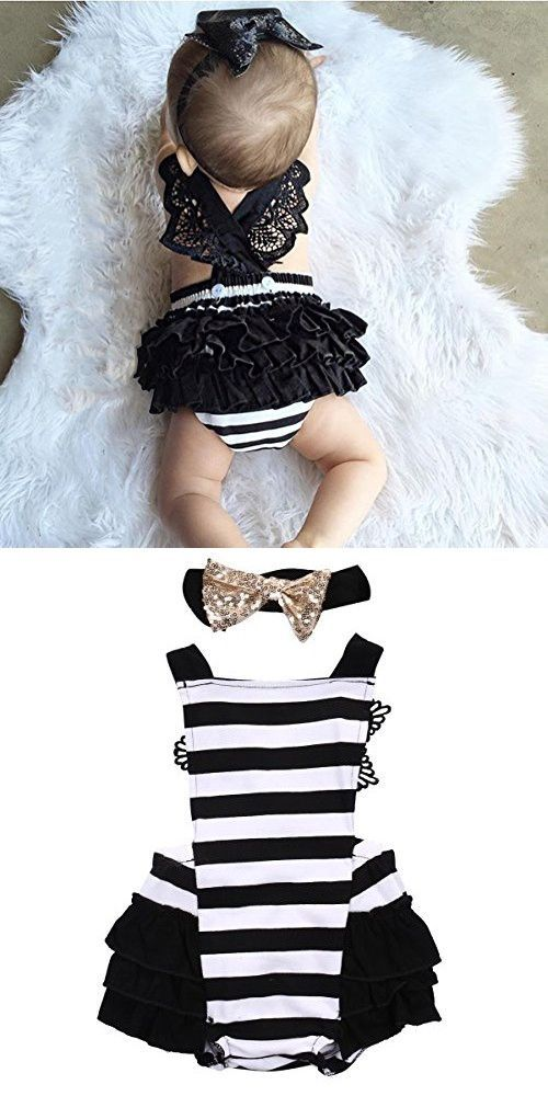 Newborn Kids Baby Girls Clothes Lace Jumpsuit Romper Playsuit + Headband Outfits (12-18 Months, Striped)