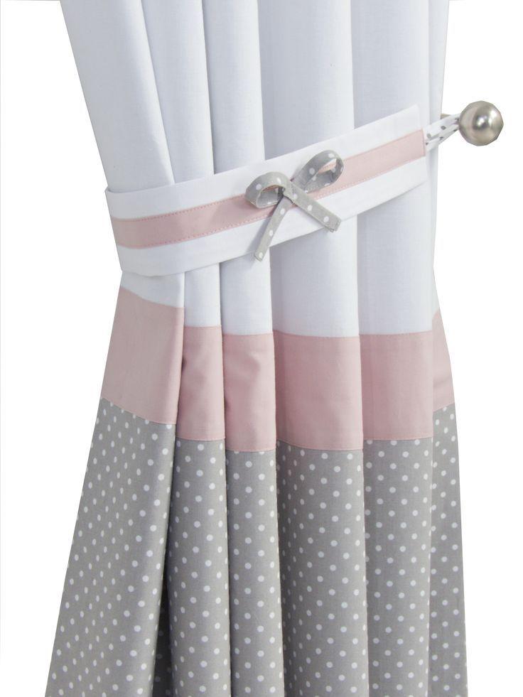 Baby Girl Pink White Grey Nursery Blackout Curtains Design
