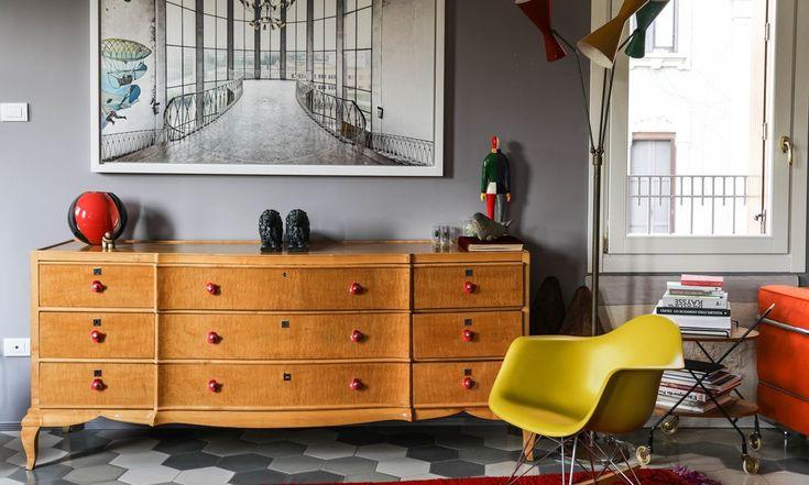 Salon Commode marquetée vintage Eames RAR Sibilla Milani Milan