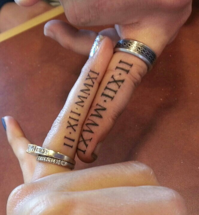 Love the idea of wedding date Roman numerals.  Trav and I will probably do this.... Not necessarily on our fingers though.