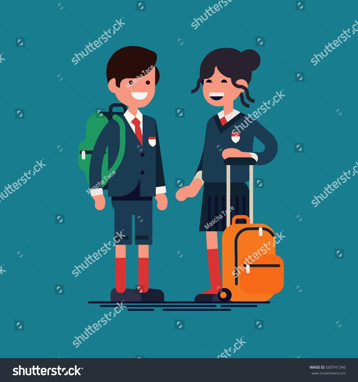 Cool vector character illustration on kids in uniforms ready for school. Small cute siblings wearing school uniform and backpacks. Private school boy and girl students portrait