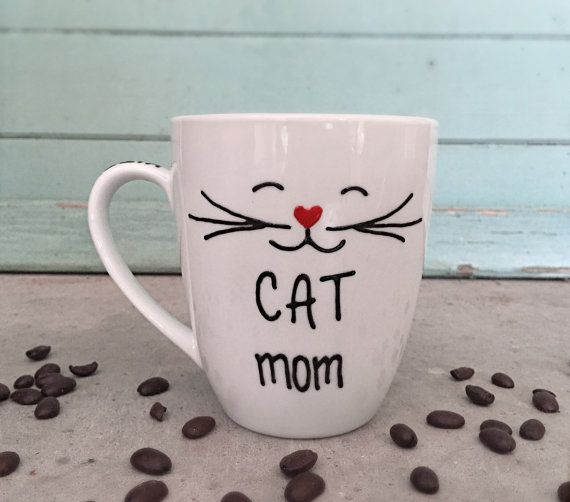 """I should make this - Cat Mug Cat Mom Personalized Crazy Cat Lady by InspireMeMugs on Etsy♥✿♥ Original pinner>said """"and like OMG! get some yourself some pawtastic adorable cat apparel!"""""""