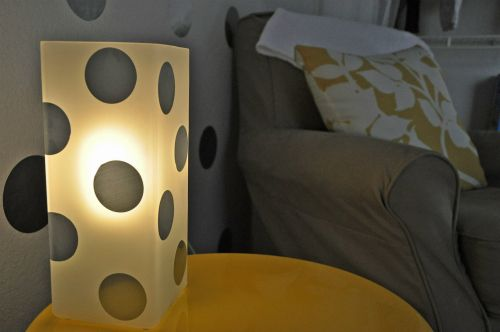 Dots on the nursery lamp too!