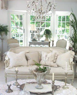 Living room Whitewashed Cottage chippy shabby chic french country rustic swedish decor idea. *** Repinned from Jenny Gray Haskins ***.