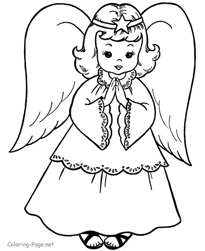 Christmas coloring book page - Angel