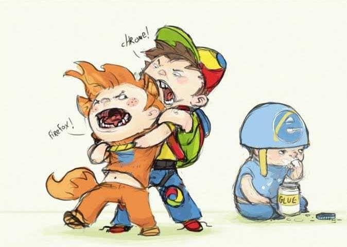 Browser wars.    I just love the kid in the helmet eating glue...