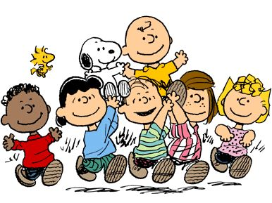 Major characters from Peanuts.From the left, Franklin, Woodstock, Lucy van Pelt, Snoopy, Linus van Pelt, Charlie Brown, Peppermint Patty and Sally Brown.