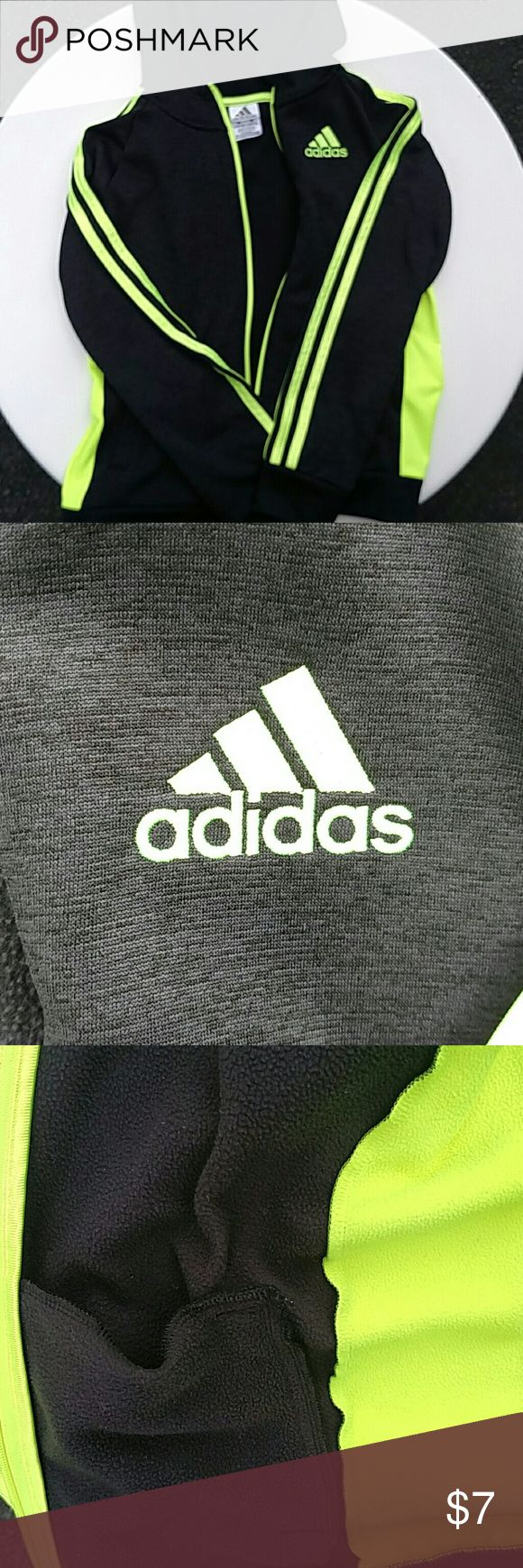 Adidas ** Zip Jacket Lime green and black hoodie. The body