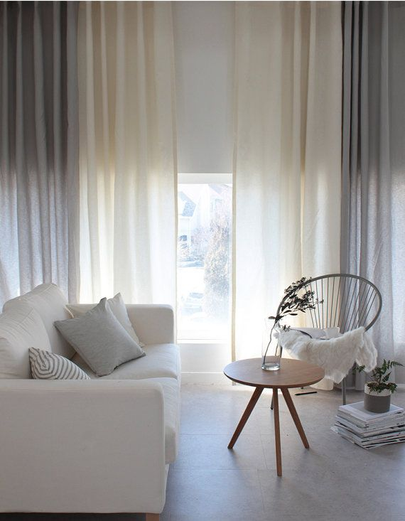 Linen and Cotton blend Curtains, Solid Color Curtains, Gray Ivory Curtains, Window Treatments, Linen window Curtains, Custom Linen Drapes