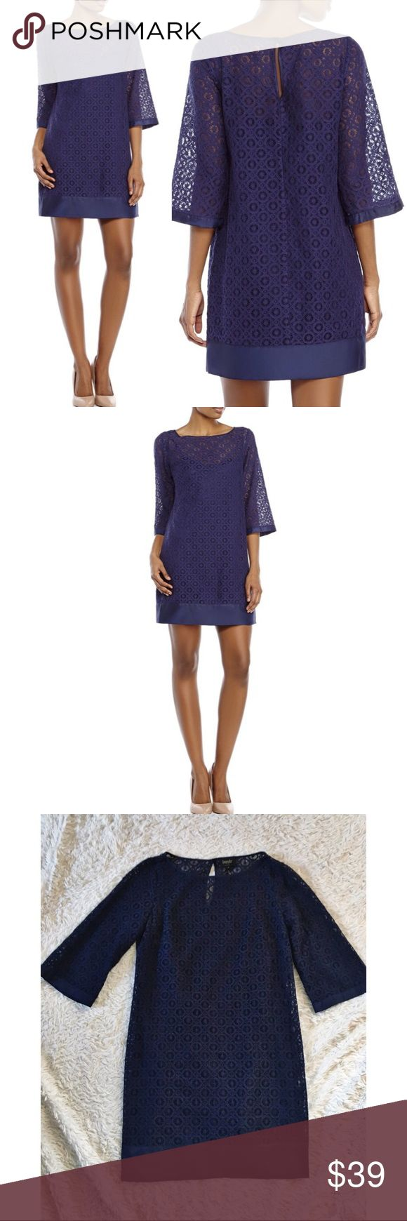 """✨NWT✨ LAUNDRY By SHELLI SEGAL Crochet Shift Dress NEW with tags Crochet/lace Shift Dress with 3/4 Bell Sleeves. Slip lining. The color is a true dark navy blue. Pit to pit: 30"""", Length: 34.5"""". ✨OFFERS WELCOME✨ Laundry By Shelli Segal Dresses"""