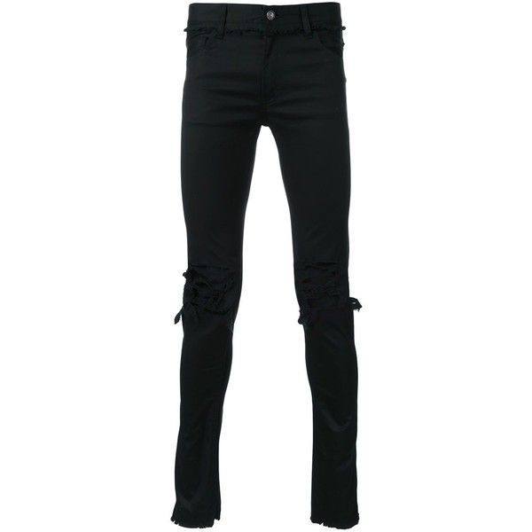 Christian Dada ripped skinny jeans ($316) ❤ liked on Polyvore featuring men's fashion, men's clothing, men's jeans, black, mens distressed jeans, mens ripped skinny jeans, mens ripped jeans, mens destroyed jeans and mens torn jeans