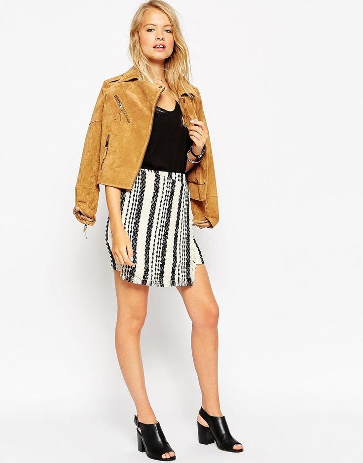 ASOS Wrap Mini Skirt In Mono Weave With Fringed Hem