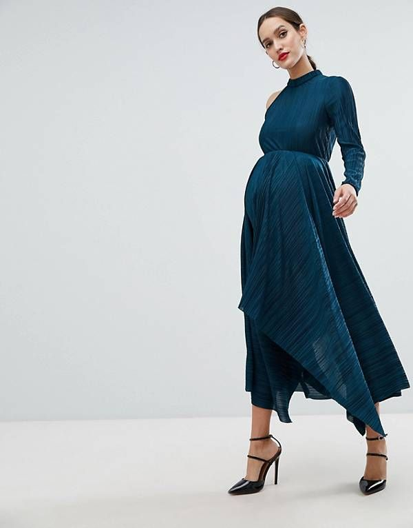 42b8b79077183 ASOS DESIGN Maternity asymmetric one sleeve plisse dress   Maternity ...