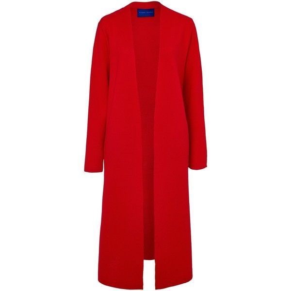 Winser London Milano Wool Soft Coat ($245) ❤ liked on Polyvore featuring outerwear, coats, hollywood red, leather-sleeve coats, long sleeve coat, long coat, long woolen coats and long wool coat