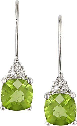 Amazon.com: 10K White Gold .03 ctw Diamond and Peridot Earrings: Jewelry