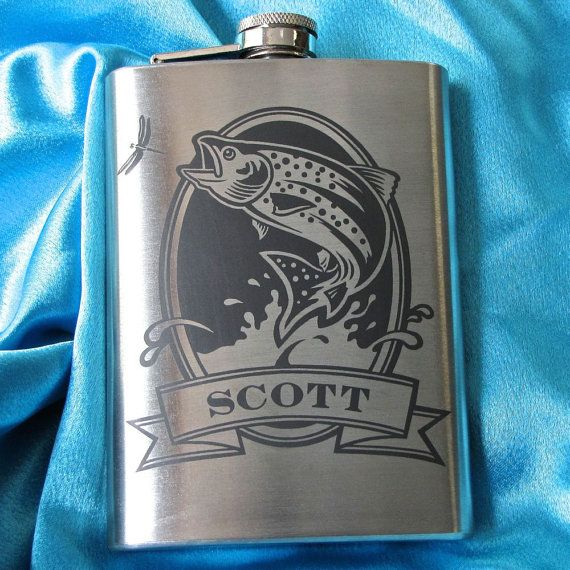 Personalized Pocket Flask with Fish, Gift for Man, Hip Flask for Angler, Fly Fisherman Gift, Birthday Present