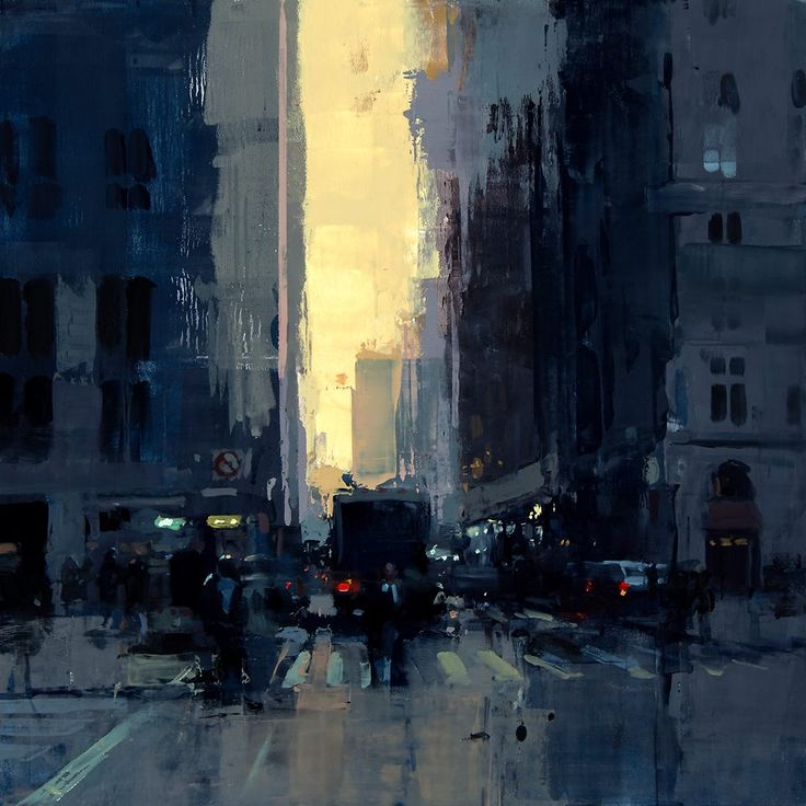 "Jeremy Mann ""New York Sunset No. 1"" 12 x 12 inches Oil on Panel 2015"
