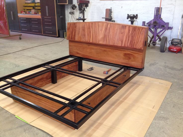 Steel Bed Frame With Wood Headboard
