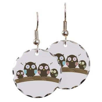 Hoot Circle Charm Earrings from cafepress store: AG Painted Brush T-Shirts. #earrings #owls #jewelry