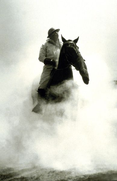 Soldier and Horse wearing a gas mask during the Battle of Verdun, 1916 (b/w photo) by French Photographer / Private Collection