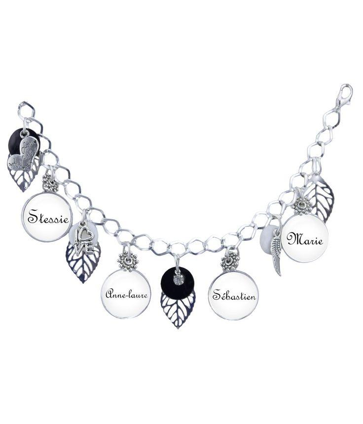bracelet prnom noir blanc et argent