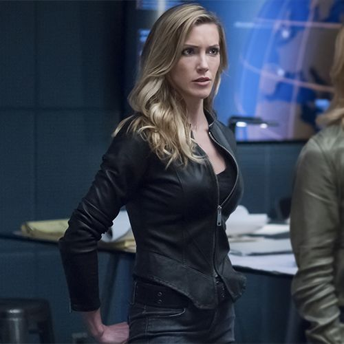 d45d3049a82 Black Siren: Black Leather Jacket with Flared Hem | Arrowverse ...