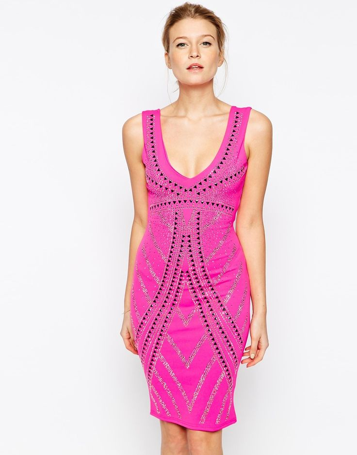 Lipsy Studded Bodycon Dress - Pink