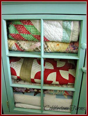 Cobblestone Farms - love this quilt cupboard