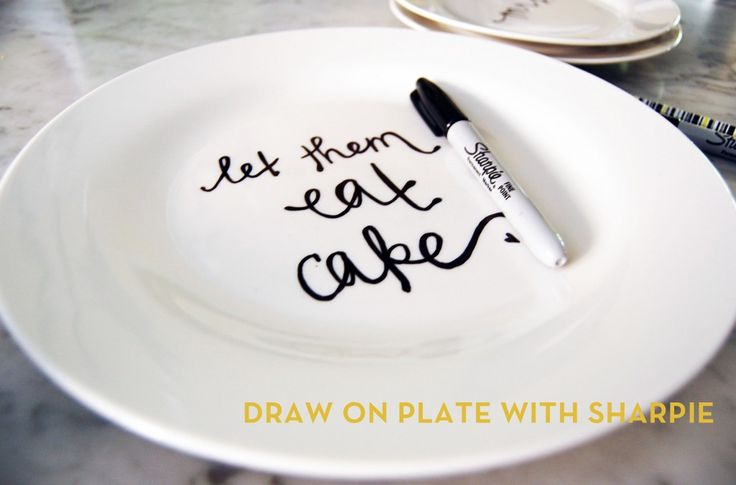 ooh fun! custom plates (using sharpies and your oven!)