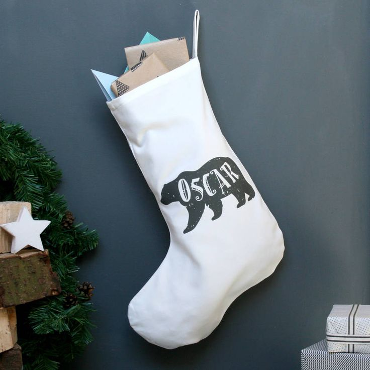Stockings With Names On Them Part - 49: Personalised Polar Bear Name Christmas Stocking