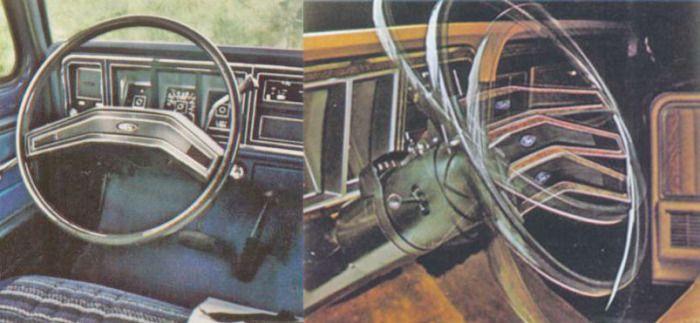 Los volantes estándar para toda la línea de camionetas Ford de 1979. A la derecha se puede apreciar el ajuste en altura del volante. El modelo está equipado con el opcional de caja automática. Las fotografías fueron tomadas de un folleto de la empresa Ford Motor Company de julio de 1978.