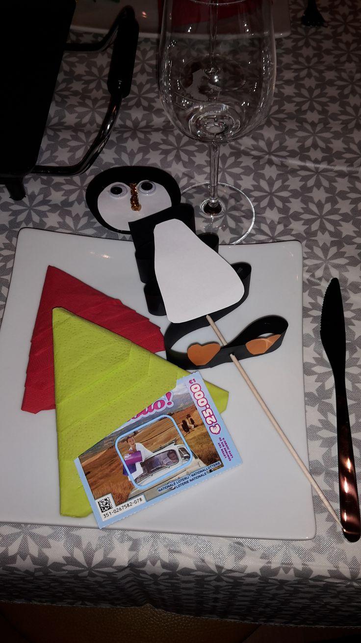 tafeldecoratie voor kerst een servetten kerstboom en pinguin prikker ( deze kan je gast meenemen naar huis en in een bloempot prikken heel leuk om met je kids te maken ! )